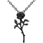 Black Rose in Bloom Necklace Pewter Alchemy P695