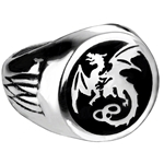 Wyverex Dragon Signet Ring Pewter Alchemy R154