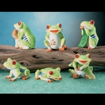 Tree Frog Statues Set of Six