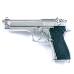 Replica M92 Beretta Automatic Pistol Nickel Non Firing FD1254