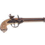 Italian Triple Barrel Flintlock Pistol Pewter - Non-Firing FD1016G