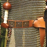 Roman Leather Belt with Brass Embossed Plates 200646