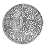 Elizabethian Sixpence Coin Button 21-2072