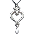 Pearl Drop Renaissance Heart Necklace Pendant 126.0422