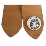 Pewter Wolf Leather Bookmark  21-2309