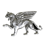 Winged Lion of Venice Pewter Brooch 106.0416