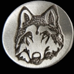 Wolf Face Pewter Button 21-2399