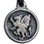 Rampant Dragon Pewter Pendant 121.0604