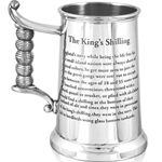 Heavy Gauge King's Shilling Pewter Tankard One Pint HG170