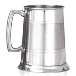 Pewter Tankard One Pint Straight Two Line Satin Band EP062