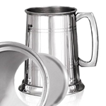 Pewter Tankard One Pint Straight Two Line Glass Base EP001GB