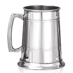 Pewter Tankard Straight 2 Line with Groove and Satin Band One Pint EP063