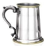 St. Georgian Handle Pewter Tankard With Brass Lip and Base EP049