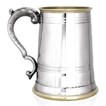 Worcester Brass Lip and Base One Pint Pewter Tankard EP156