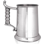 Rope Handle Straight Two Line One Pint Pewter Tankard EP162