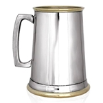 Plain Straight Brass Lip And Base One Pint Pewter Tankard EP150