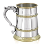 St. George Handle Two Celtic Brass Band 1 Pint Pewter Tankard