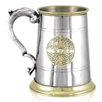 St. George Handle with Brass Lip and Base Pint Pewter Tankard