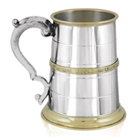 St. George Handle Brass Celtic Brass Band Pint Pewter Tankard