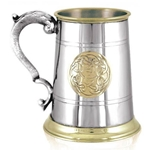 St. George Handle With Celtic Design One Pint Pewter Tankard