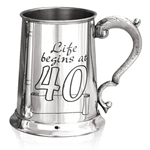 Life Begins At Forty One Pint Pewter Tankard