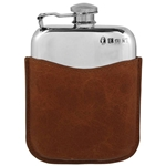 Purse With Captive Top and Pouch Pewter Flask 6 Ounces