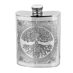 Tree of Life Pewter Flask 6 Ounces