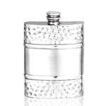 Hammered Satin Band Pewter Flask 6 Ounces