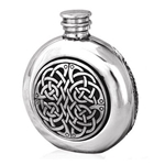 Round Celtic Knots Pewter Flask 6 Ounces