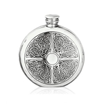 Round Celtic Pewter Flask 6 Ounces