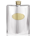 Plain Brass Plate Pewter Flask 6 Ounces