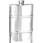 Plain Satin Band Pewter Flask 8 Ounces