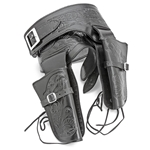 Double Rig Embossed Leather Holster Set - XL Waist