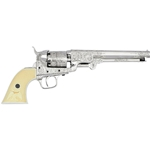 Classic M1851 Navy Revolver Engraved Nickel Non Firing 24-221503B