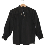 Renaissance Cotton Shirt Collarless Black Large GB3034