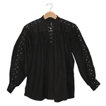 Renaissance Cotton Shirt Laced Sleeves Black Medium 29-GB3045