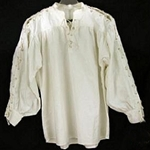 Renaissance Cotton Shirt Laced Sleeves Natural Medium GB3049
