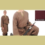 Trimmed Cotton Shirt, Burgundy, Medium Medieval Tunic