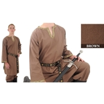 Trimmed Cotton Shirt, Brown, Extra Large Medieval Tunic