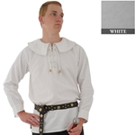 Renaissance Cotton Shirt Round Collar White XL