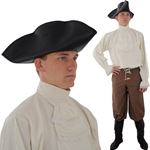 Leather Tricorn Hat, XL Extra Large