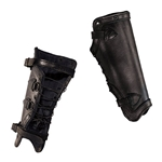 Leather Greaves in Black Medium