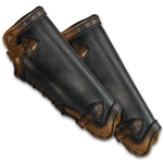 Leather LARP Greaves in Black and Brown Large
