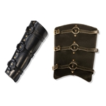 Berserker Leather Greaves in Black, Medium