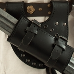 Black Leather Belt Mount Set for LARP Swords