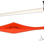 Synthetic Longsword Guard-Red 29-PR2014