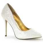 Ivory Giltter Stiletto Pumps