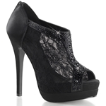 Black Satin Lace Peep Toe Booties