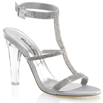 Silver Satin Rhinestone Sling Back Sandals
