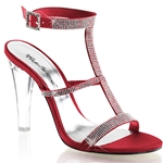 Red Satin Rhinestone Sling Back Sandals